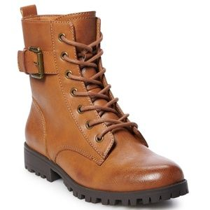 New SO Women's Brown Combat Lace Up Boots